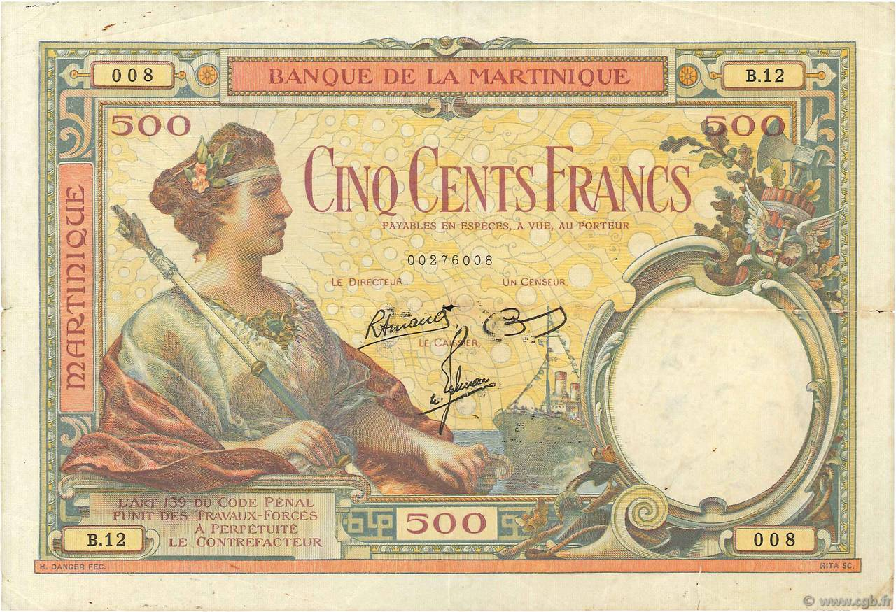 500 Francs type 1927 MARTINIQUE  1945 P.14 pr.TTB