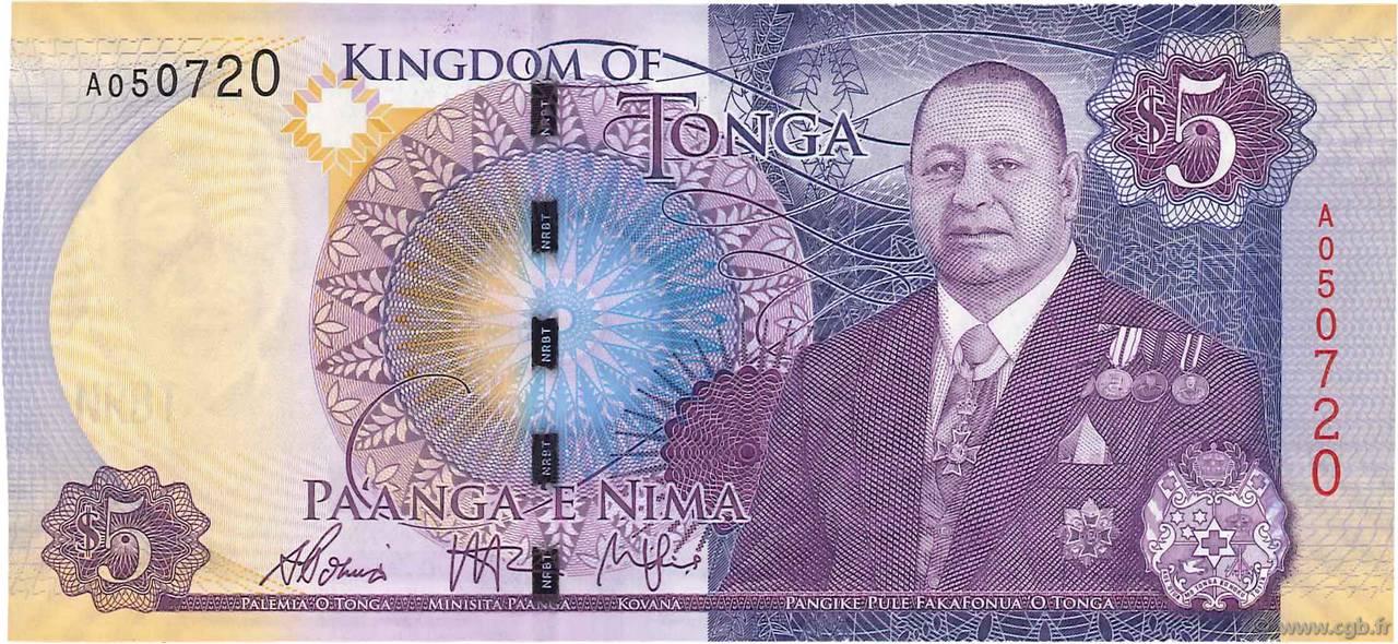 TONGA 5 PA/'ANGA ND P-45 UNC 2015