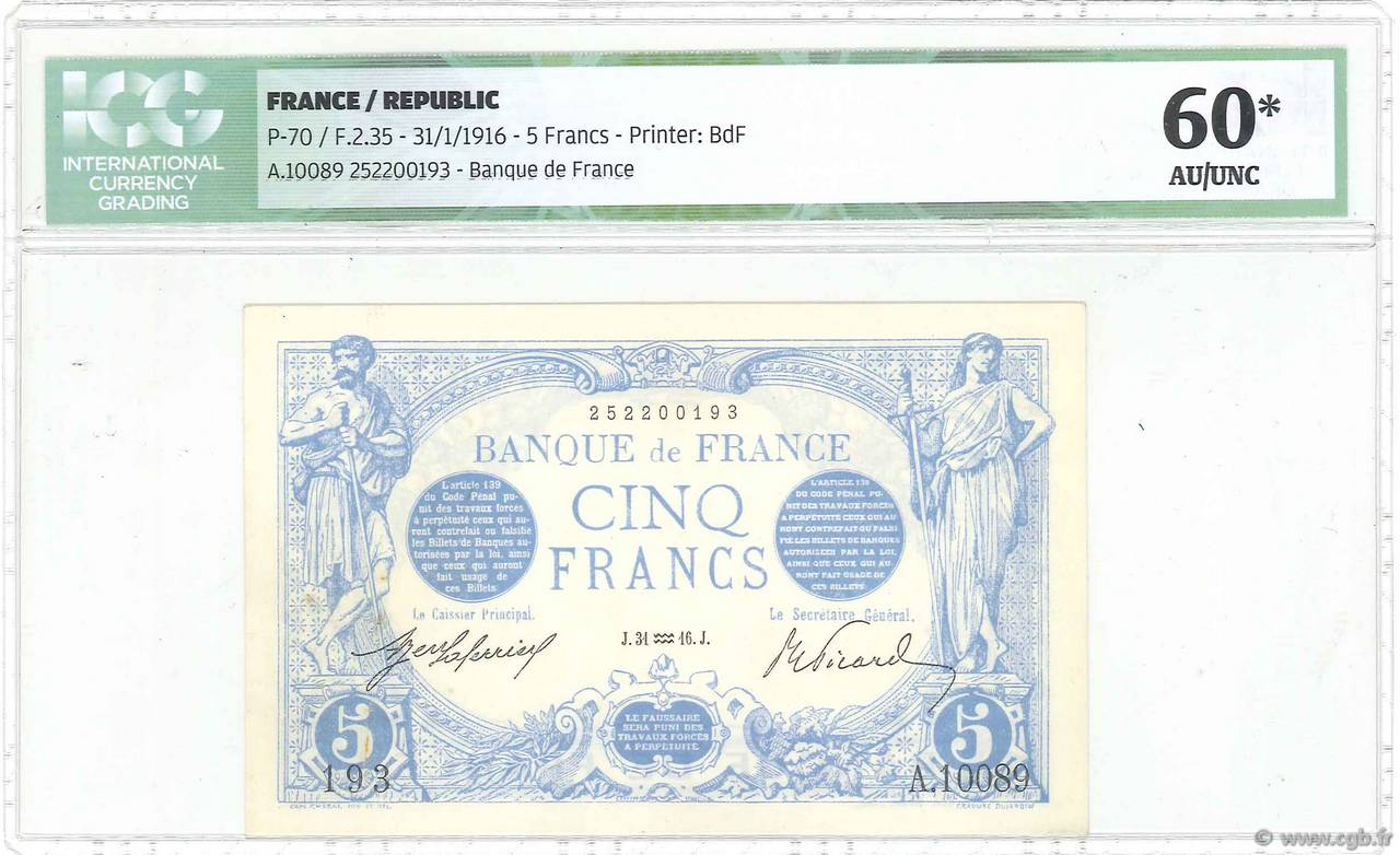 5 Francs BLEU FRANCE  1916 F.02.35 SUP+