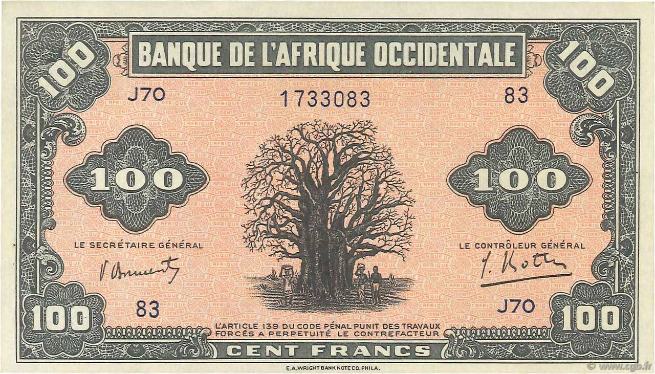 100 Francs FRENCH WEST AFRICA (1895-1958)  1942 P.31a AU