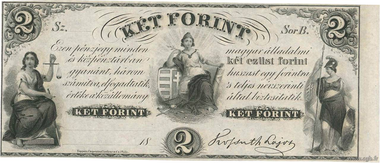 2 Forint HONGRIE  1852 PS.142r1 NEUF