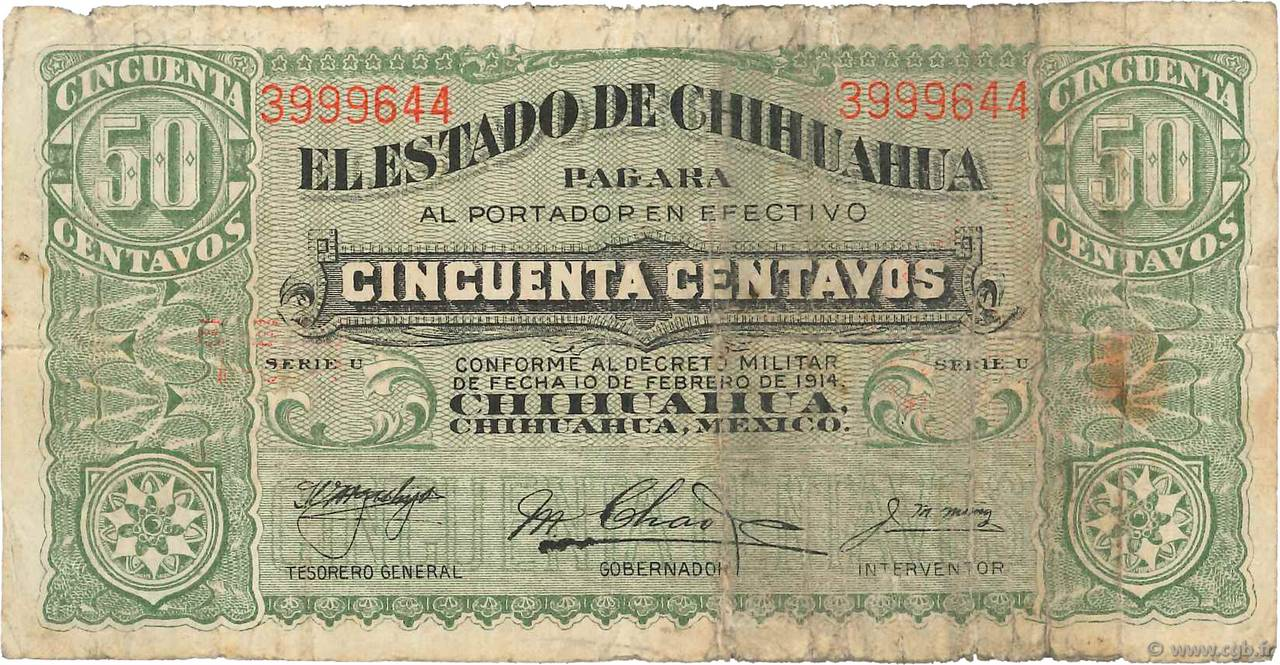50 Centavos MEXIQUE  1915 PS.0528e B