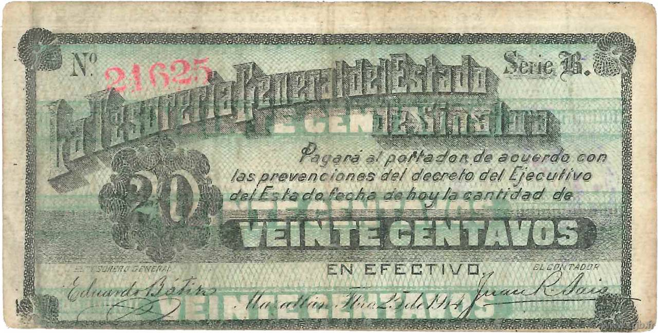 20 Centavos MEXIQUE  1914 PS.1023 TB