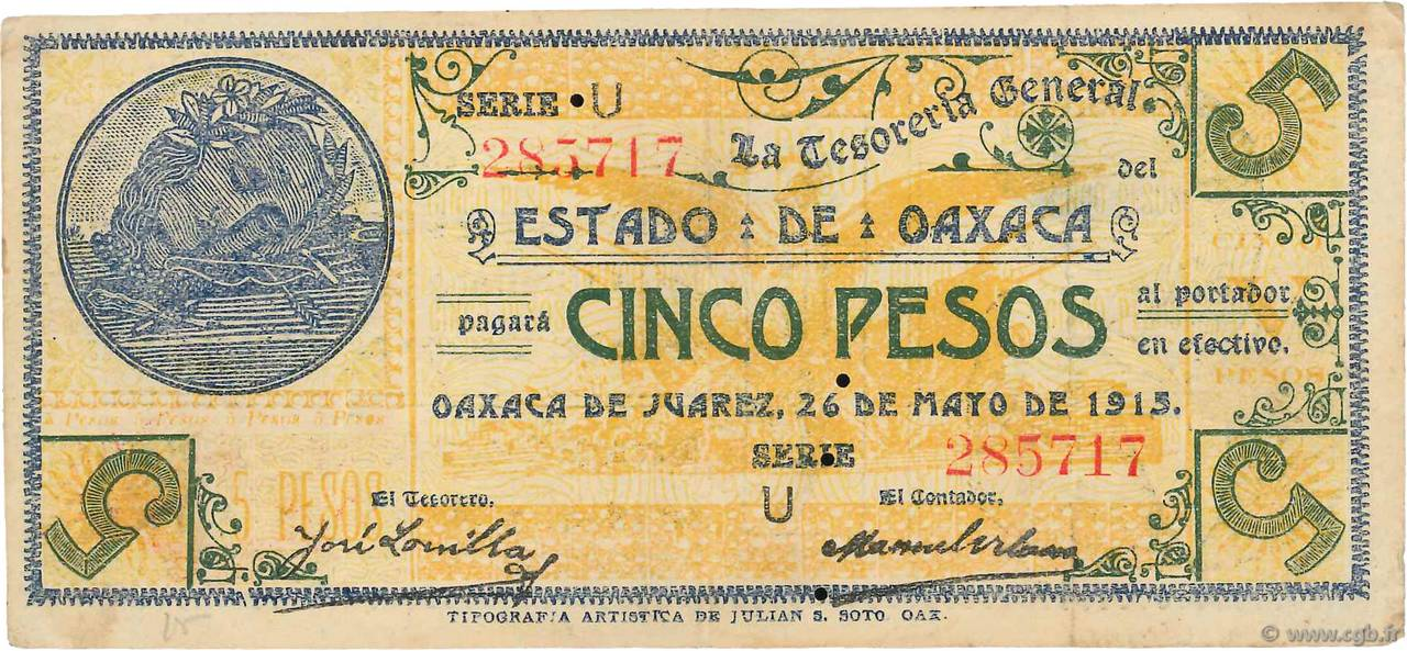 5 Pesos MEXIQUE  1915 PS.0954 TTB