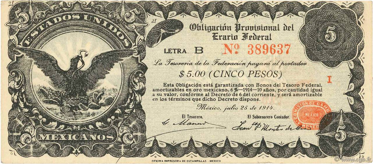5 Pesos MEXIQUE  1914 PS.0714 TTB+