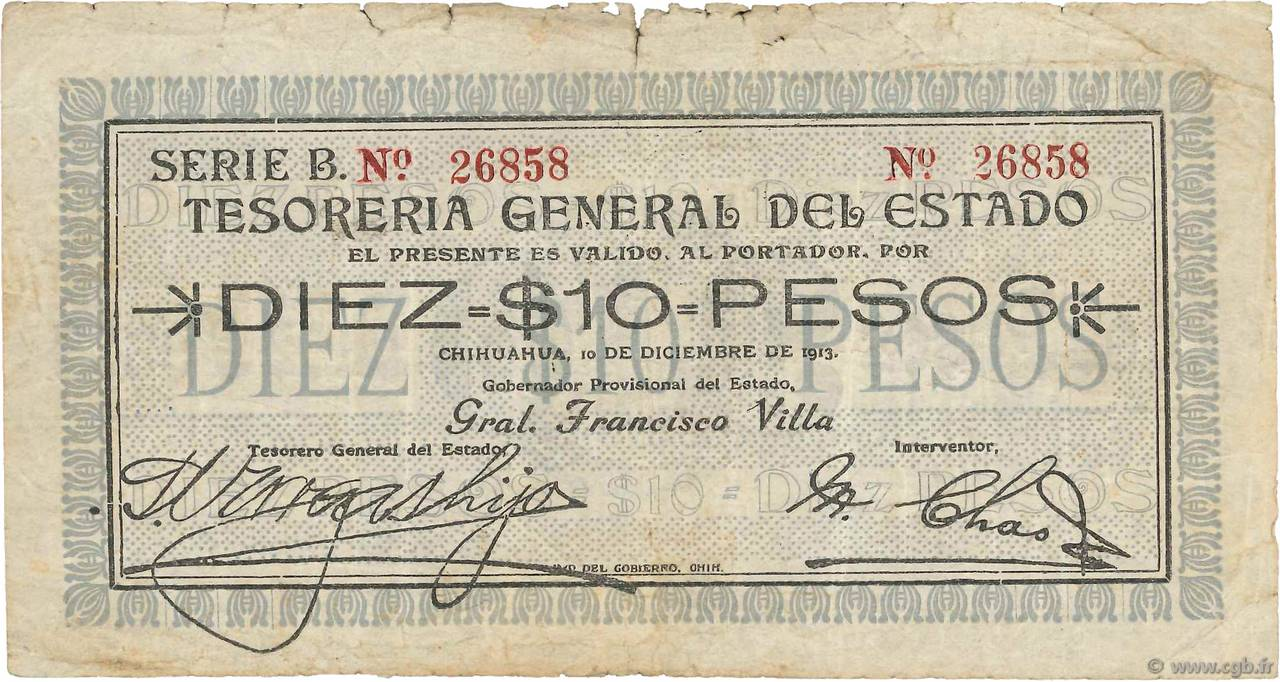 10 Pesos MEXIQUE  1913 PS.0555a B