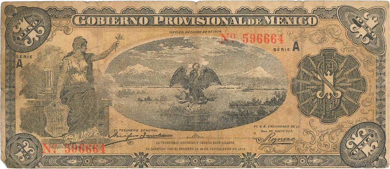 1 Peso MEXIQUE  1914 PS.0701a B