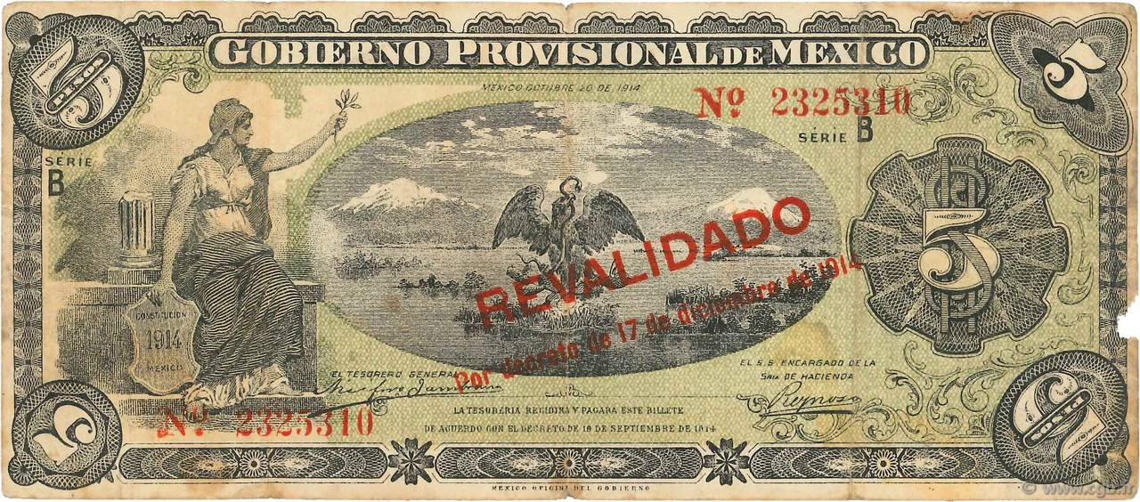 5 Pesos MEXIQUE  1914 PS.0702b TB+