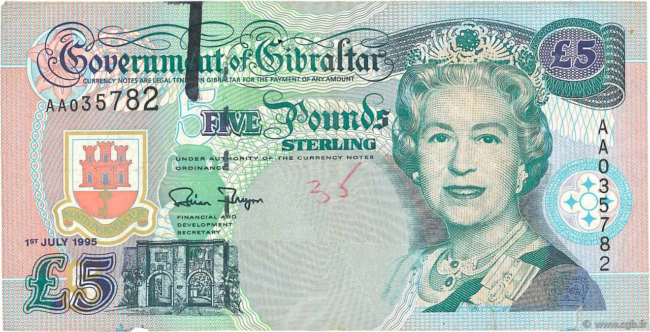 5 Pounds Sterling GIBRALTAR  1995 P.25a TB