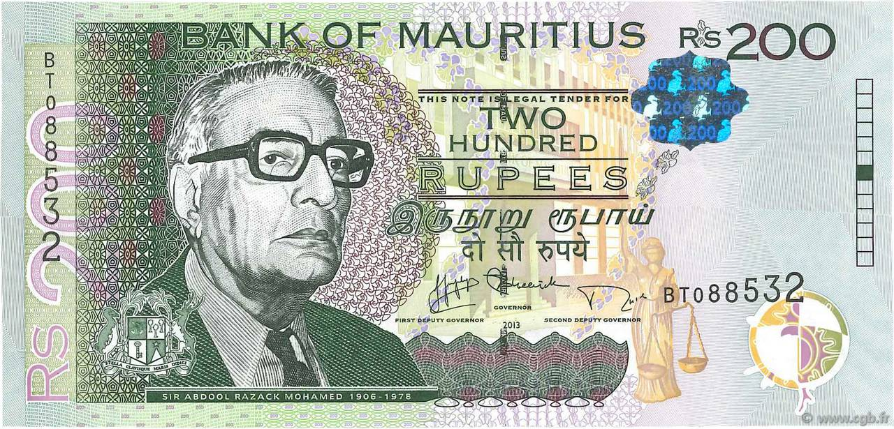 200 Rupees ÎLE MAURICE  2013 P.61b NEUF