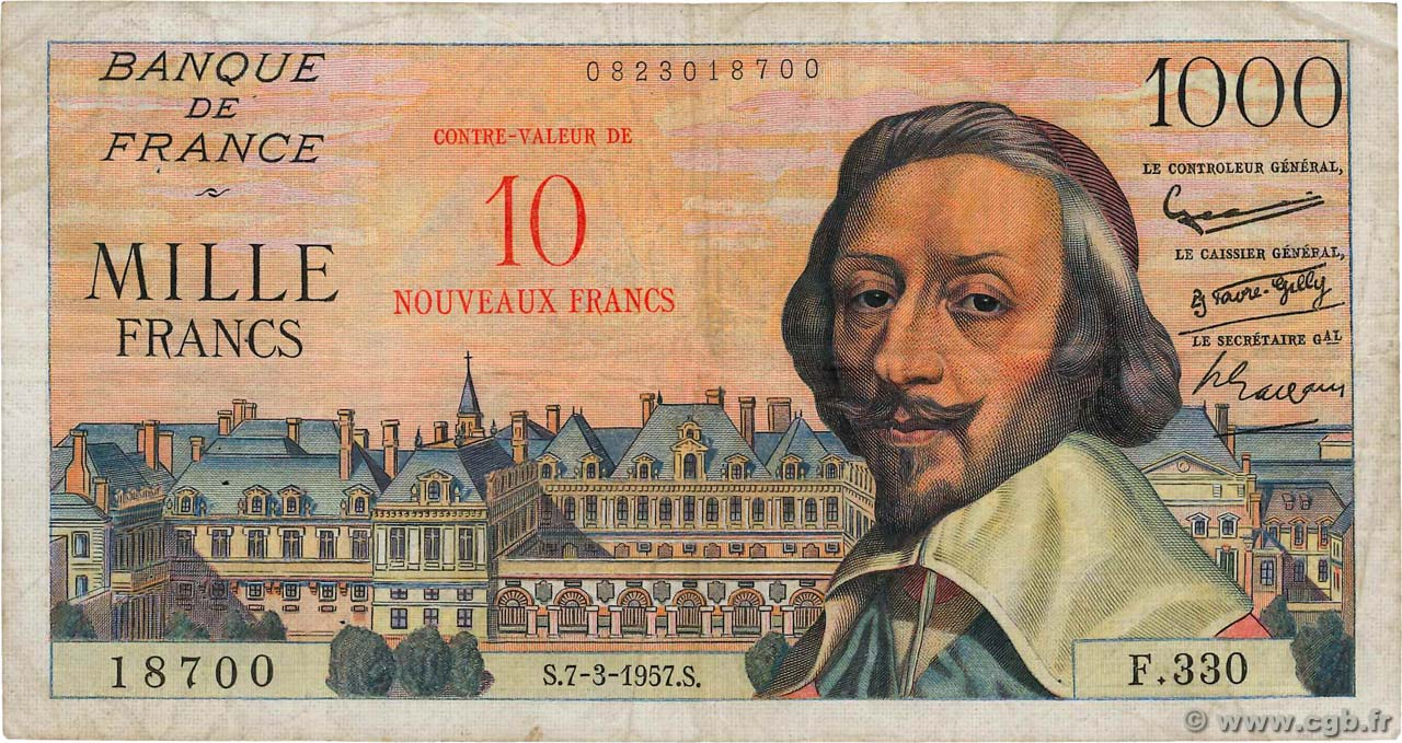 10 NF sur 1000 Francs RICHELIEU  FRANCE  1957 F.53.01 TB