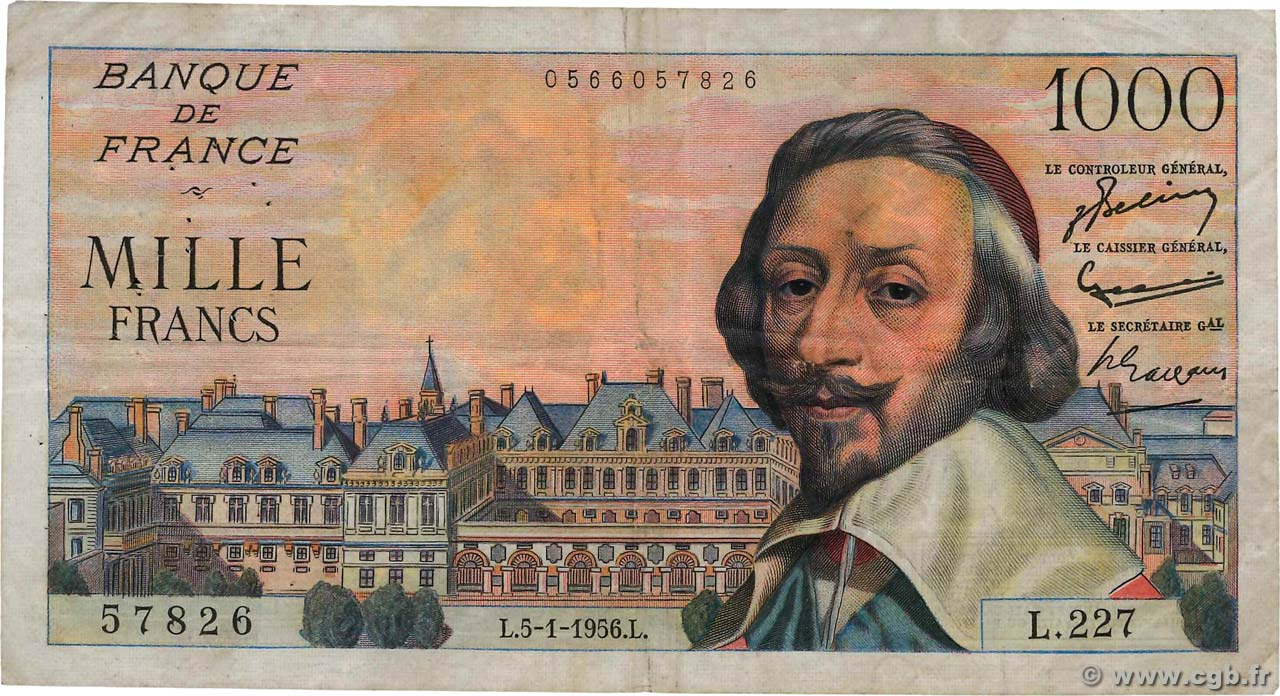 1000 Francs RICHELIEU FRANCE  1956 F.42.18 TB
