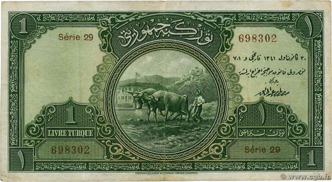1 livre turkey 1926 b97 6783 banknotes. Black Bedroom Furniture Sets. Home Design Ideas