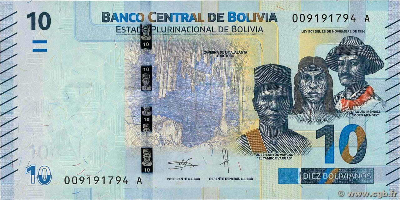 BOLIVIA  20   BOLIVIANOS  2018 Serie A P NEW     Uncirculated Banknotes