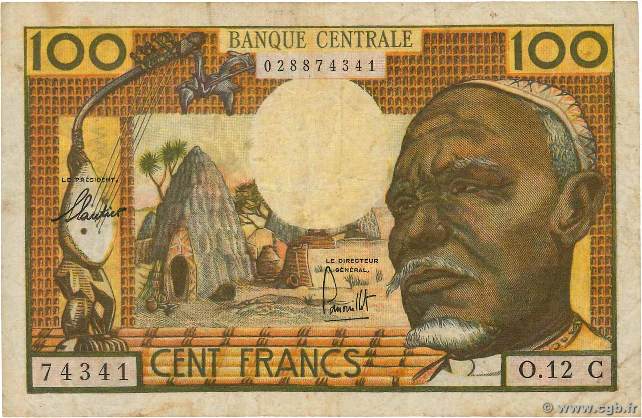 100 Francs EQUATORIAL AFRICAN STATES (FRENCH)  1962 P.03c MB