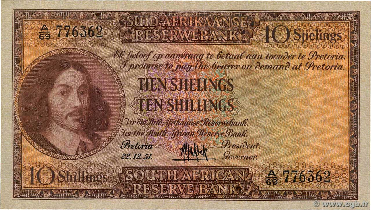 10 Shillings  SOUTH AFRICA  1951 P.091d VF+