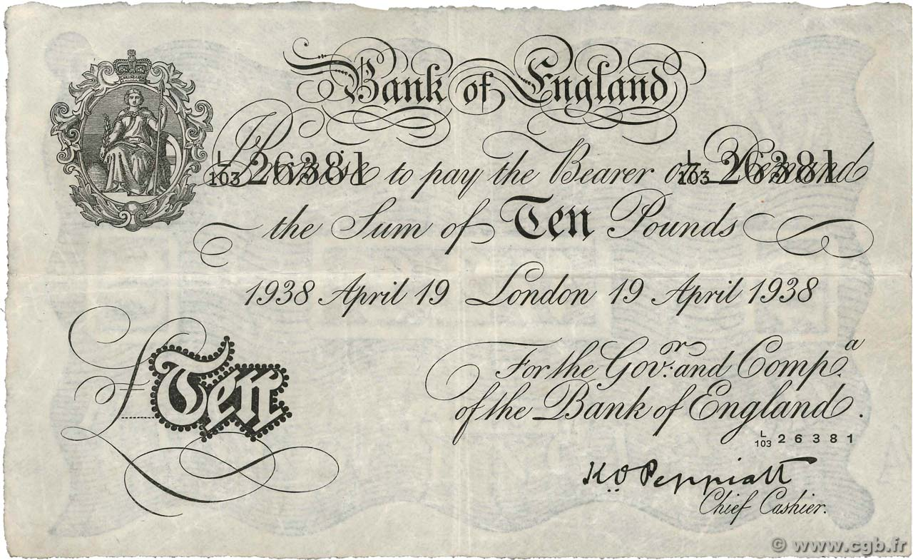 10 Pounds ANGLETERRE  1938 P.336a TTB