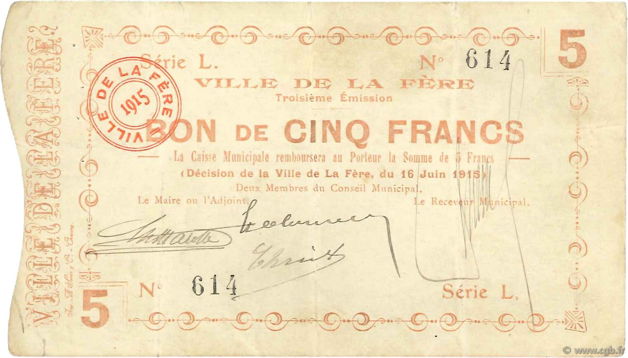 5 Francs FRANCE FERE (LA) 1915 JP.02-0802