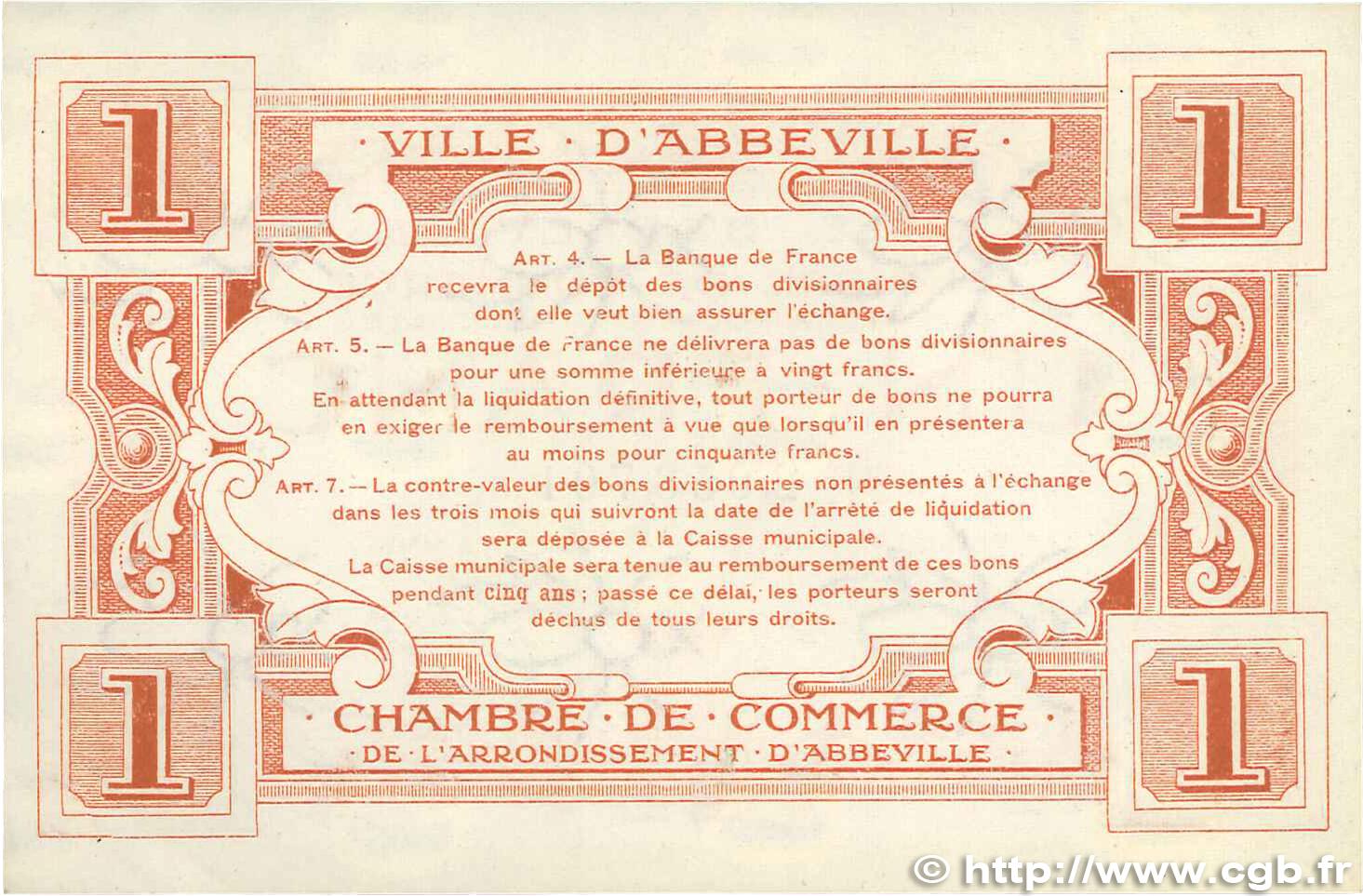 1 franc france r gionalisme et divers abbeville 1920 sup b99 0110 billets. Black Bedroom Furniture Sets. Home Design Ideas