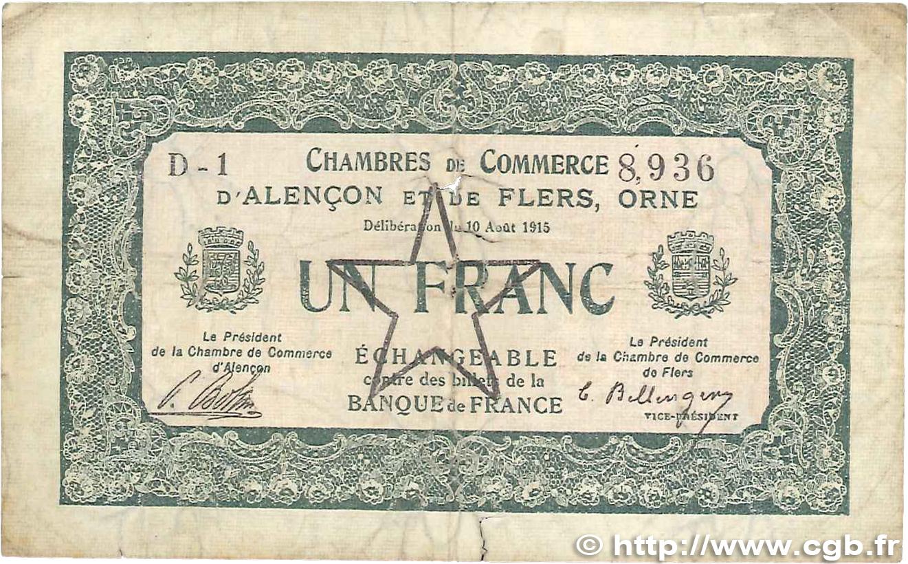 1 franc france r gionalisme et divers alencon et flers 1915 b99 0145 billets - Chambre de commerce alencon ...