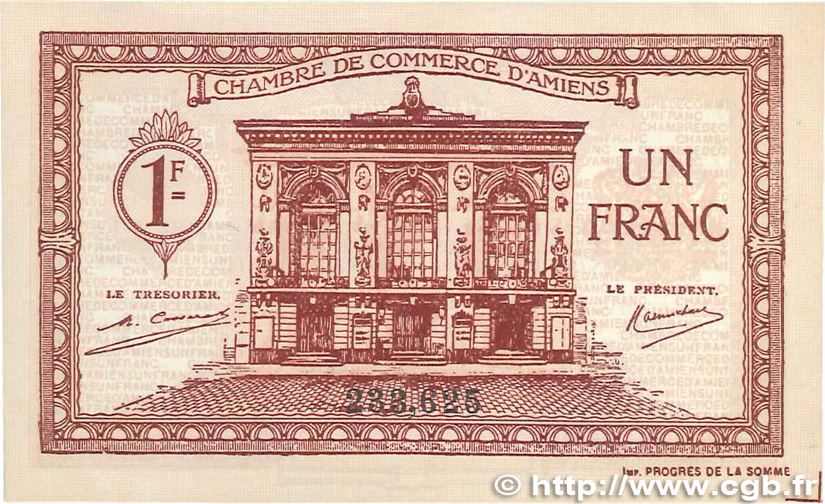 1 franc france regionalism and miscellaneous amiens 1922 for Chambre de commerce amiens