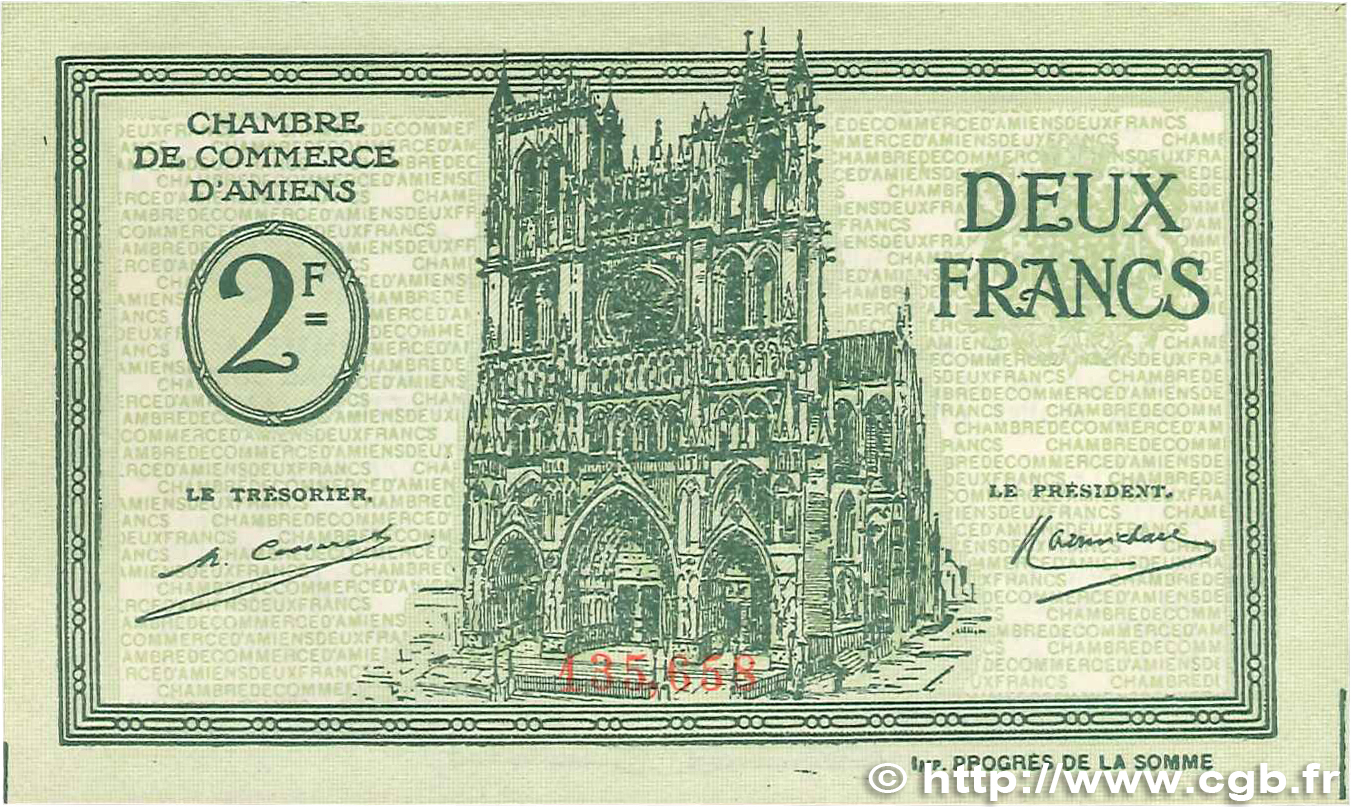 2 francs france regionalism and miscellaneous amiens 1922 for Chambre de commerce amiens