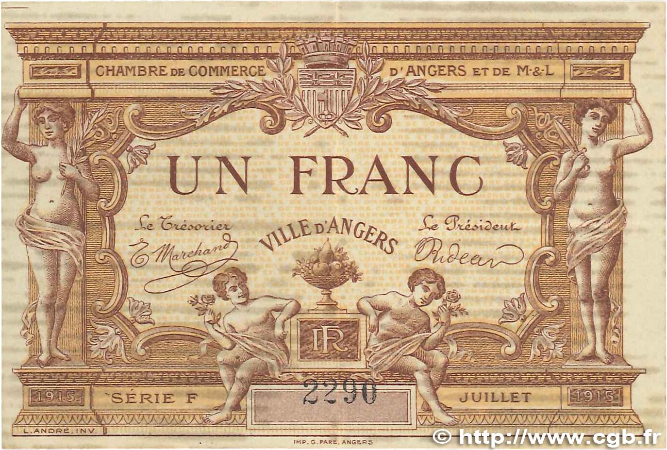 1 franc france r gionalisme et divers angers 1915 ttb b99 0173 billets. Black Bedroom Furniture Sets. Home Design Ideas