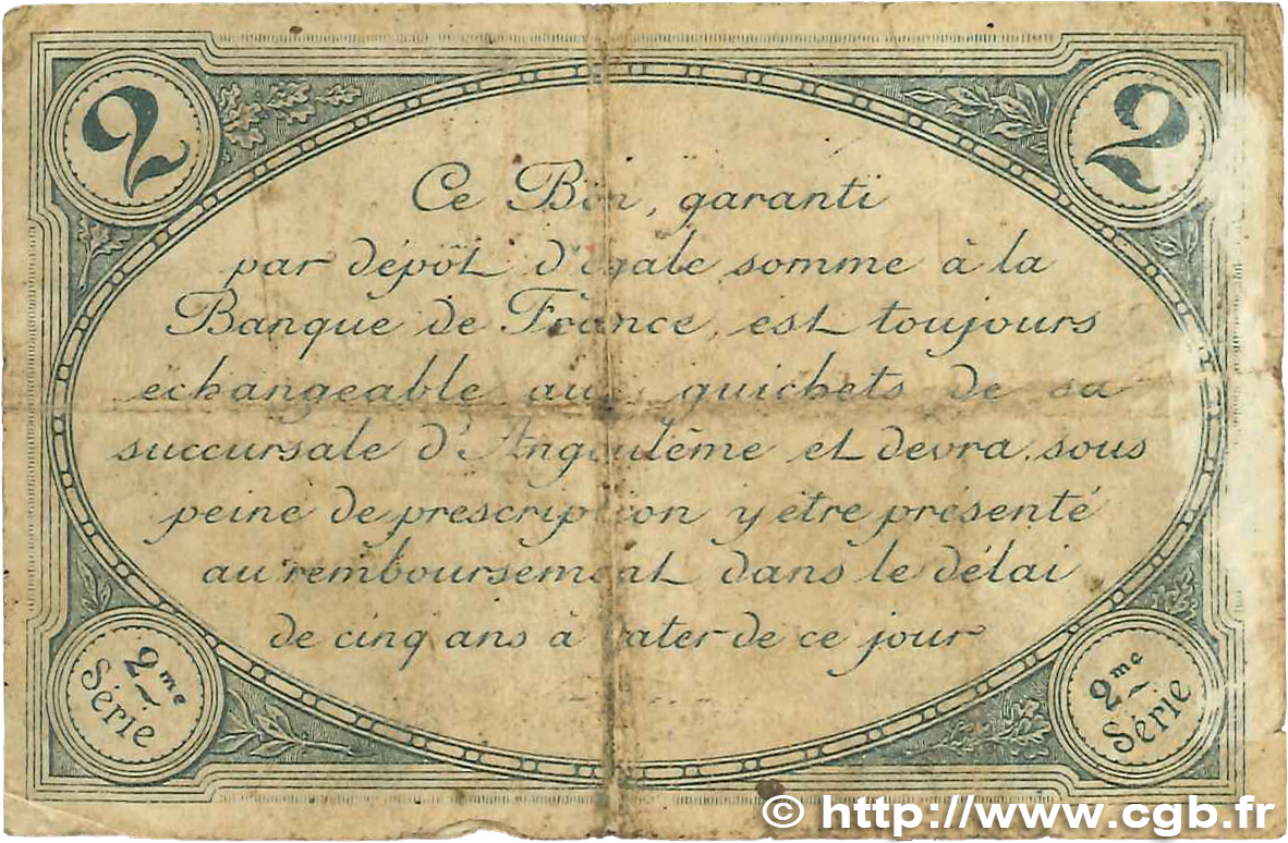 2 francs france r gionalisme et divers angoul me 1915 jp for Chambre de commerce angouleme