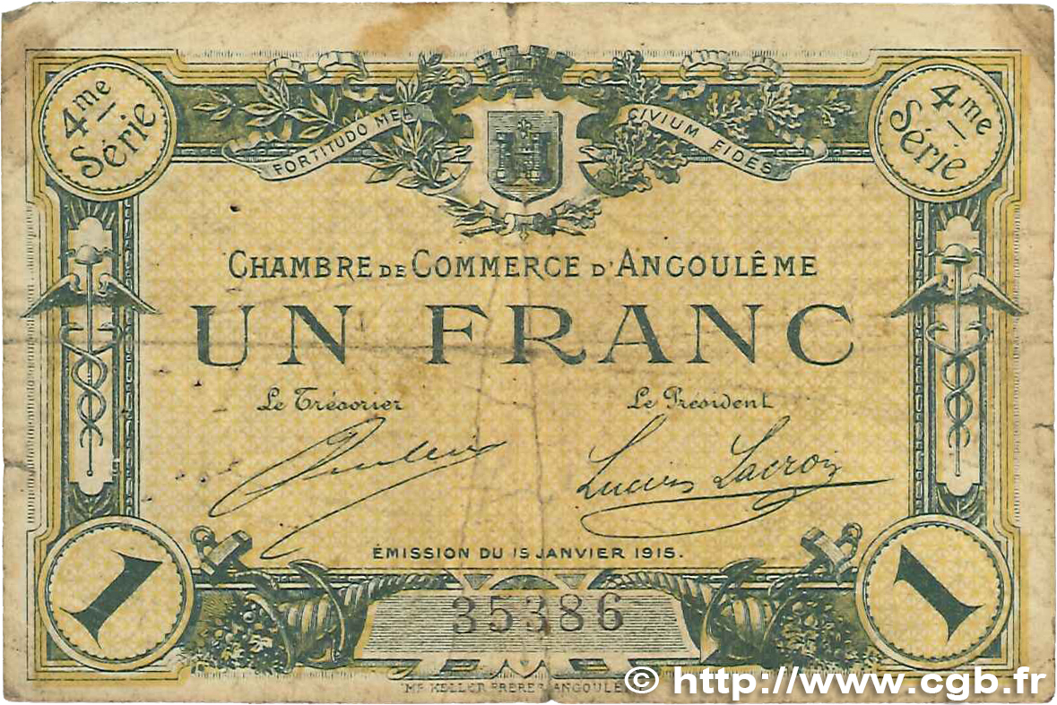 1 franc france r gionalisme et divers angoul me 1915 jp for Chambre de commerce angouleme