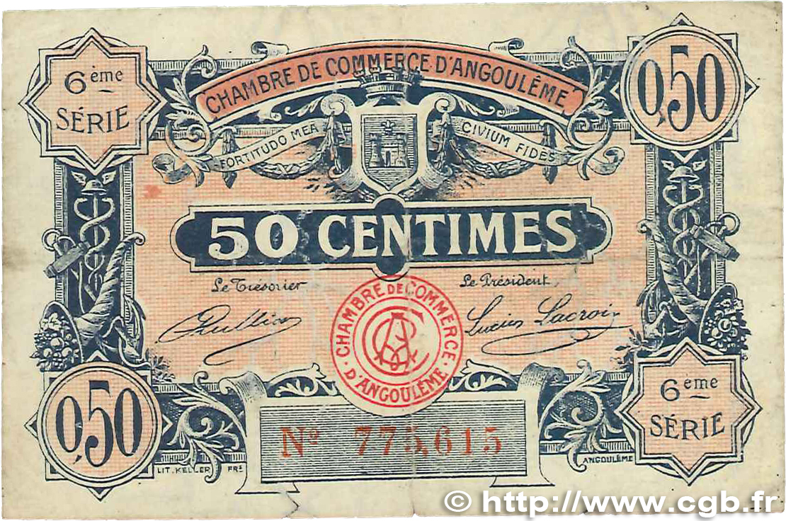 50 centimes france r gionalisme et divers angoul me 1920 for Chambre de commerce angouleme
