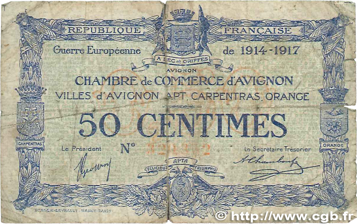50 centimes france r gionalisme et divers avignon 1915 jp for Chambre de commerce d avignon