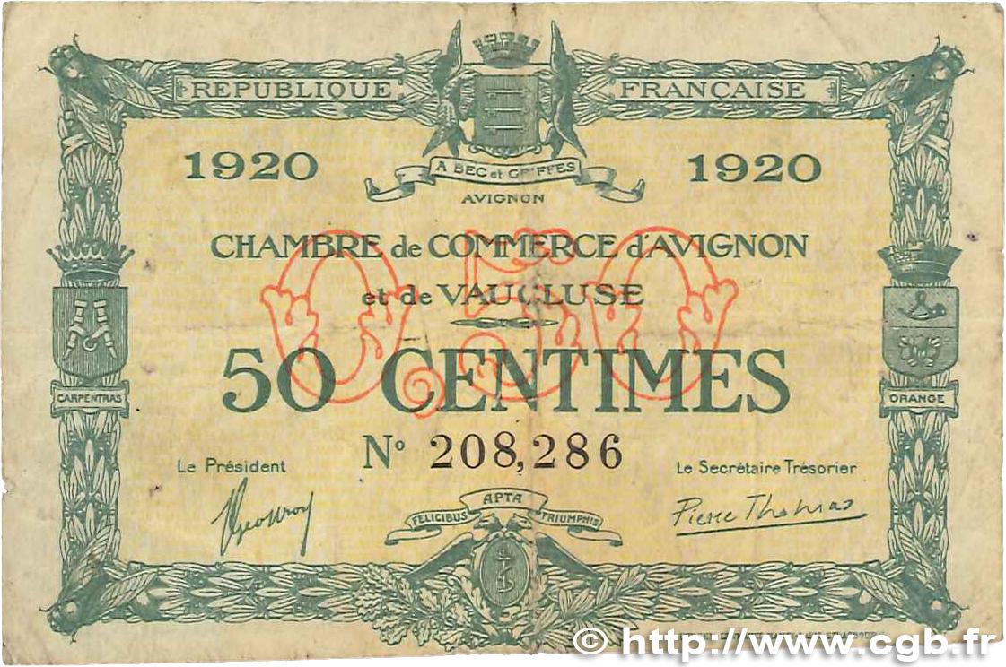 50 centimes france r gionalisme et divers avignon 1920 b99 0222 billets. Black Bedroom Furniture Sets. Home Design Ideas
