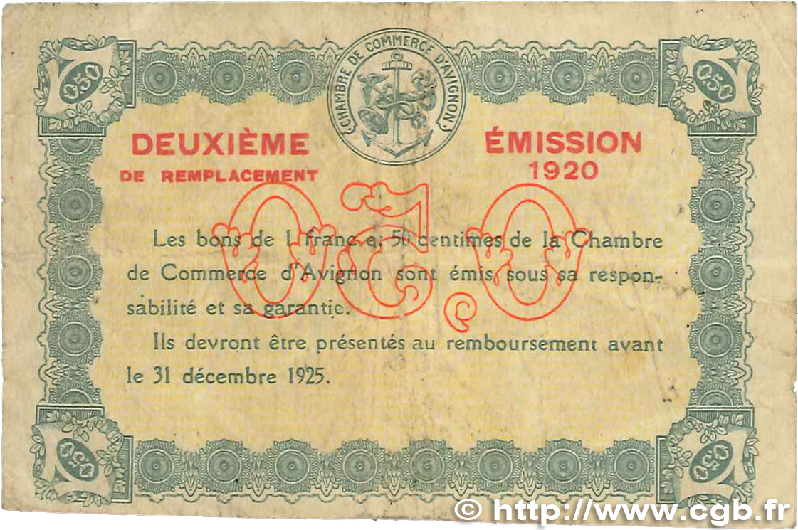 50 centimes france r gionalisme et divers avignon 1920 jp for Chambre de commerce d avignon