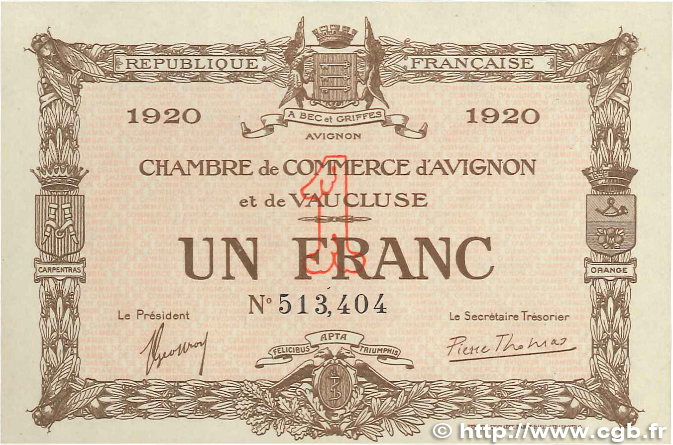 1 franc france r gionalisme et divers avignon 1920 for Chambre de commerce d avignon