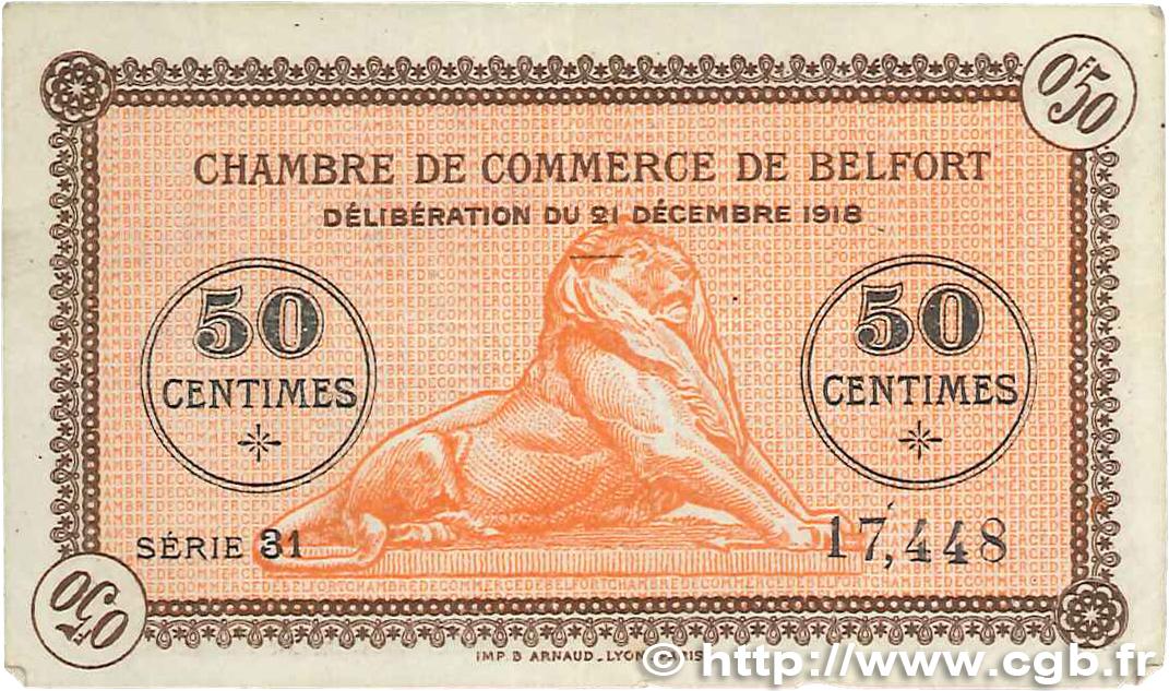 50 centimes france r gionalisme et divers belfort 1918 b99 0273 billets. Black Bedroom Furniture Sets. Home Design Ideas