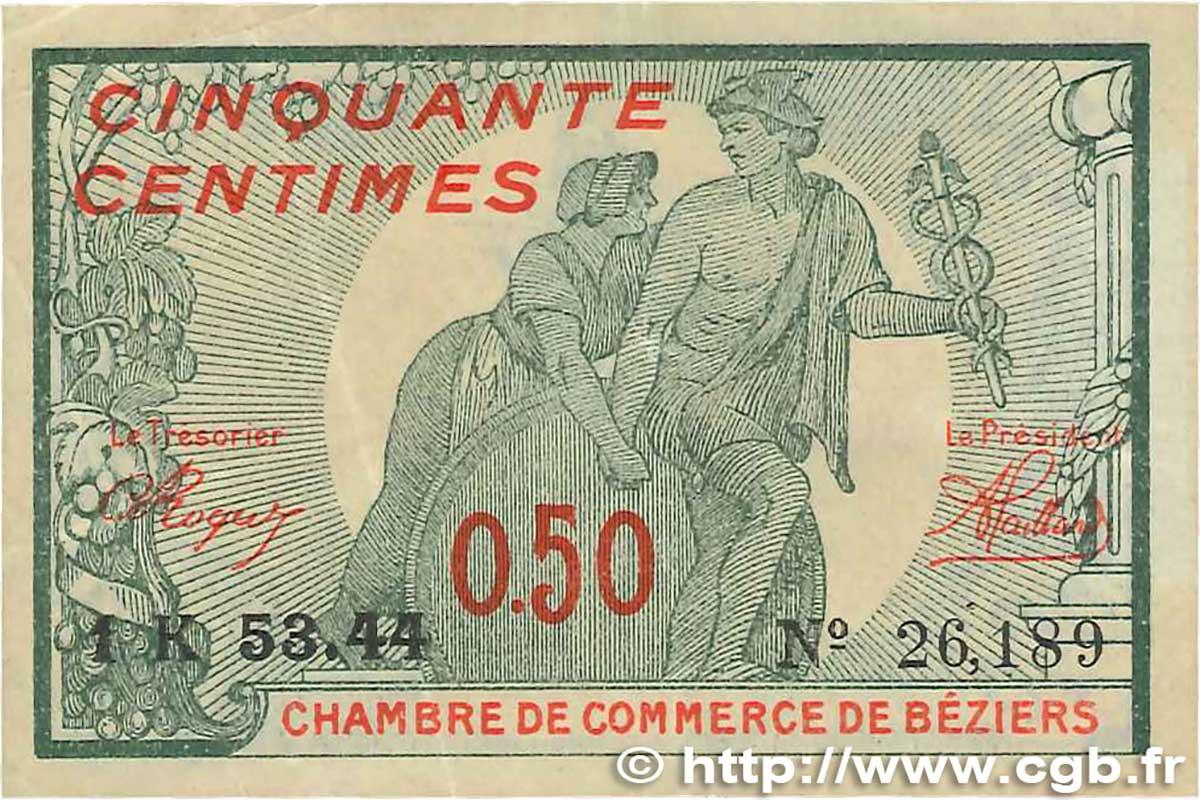 50 centimes france r gionalisme et divers b ziers 1921 ttb b99 0299 billets. Black Bedroom Furniture Sets. Home Design Ideas