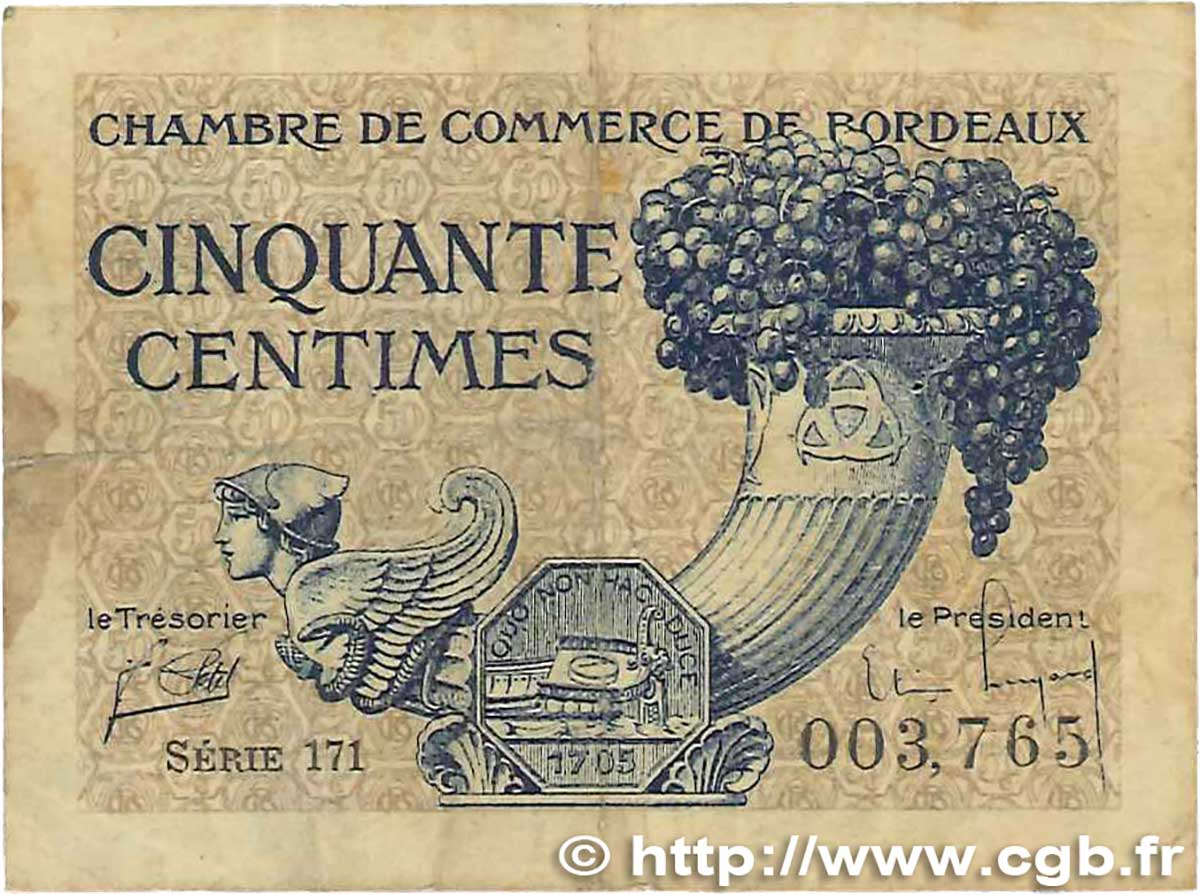 50 Centimes FRANCE régionalisme et divers Bordeaux 1921 JP.030.28 B