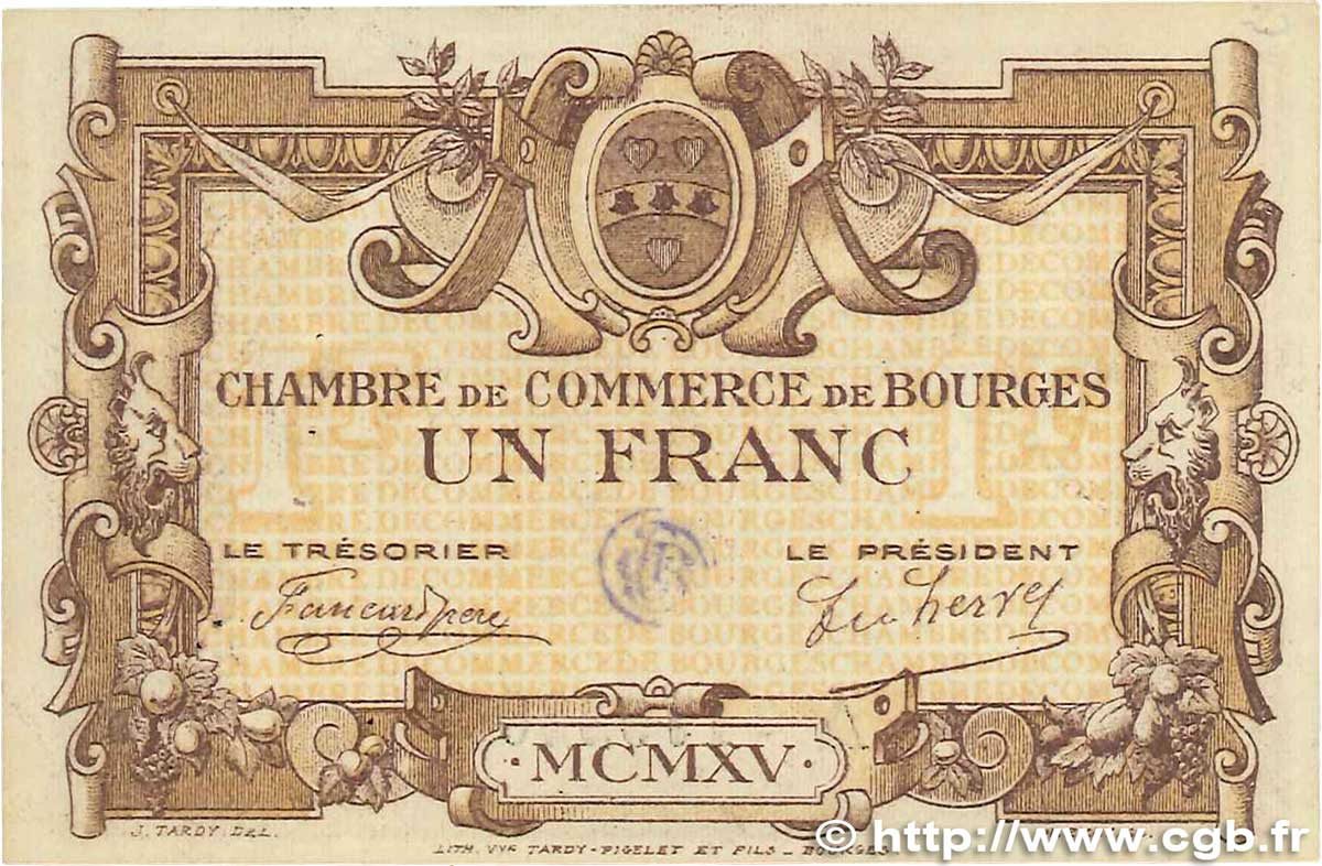 1 franc france r gionalisme et divers bourges 1915 b99 0370 billets. Black Bedroom Furniture Sets. Home Design Ideas