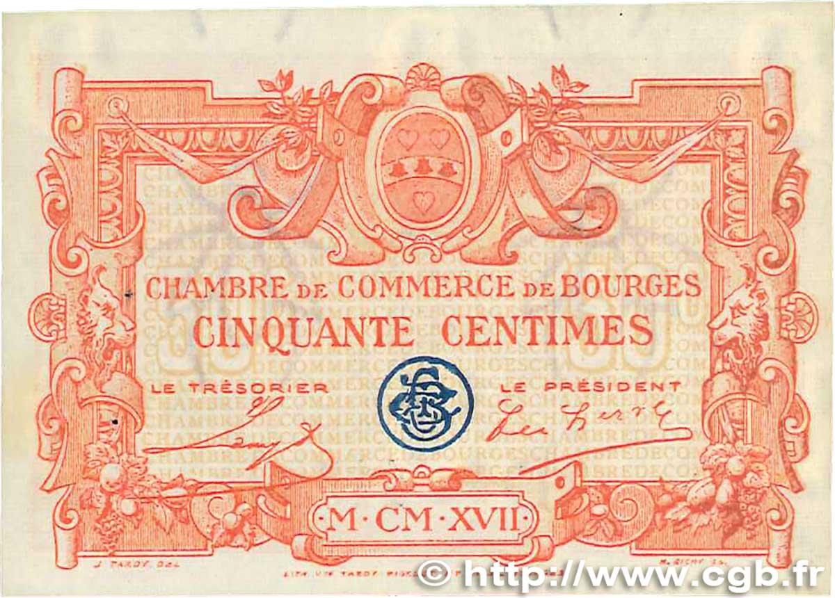 50 centimes france r gionalisme et divers bourges 1915 b99 0378 billets. Black Bedroom Furniture Sets. Home Design Ideas