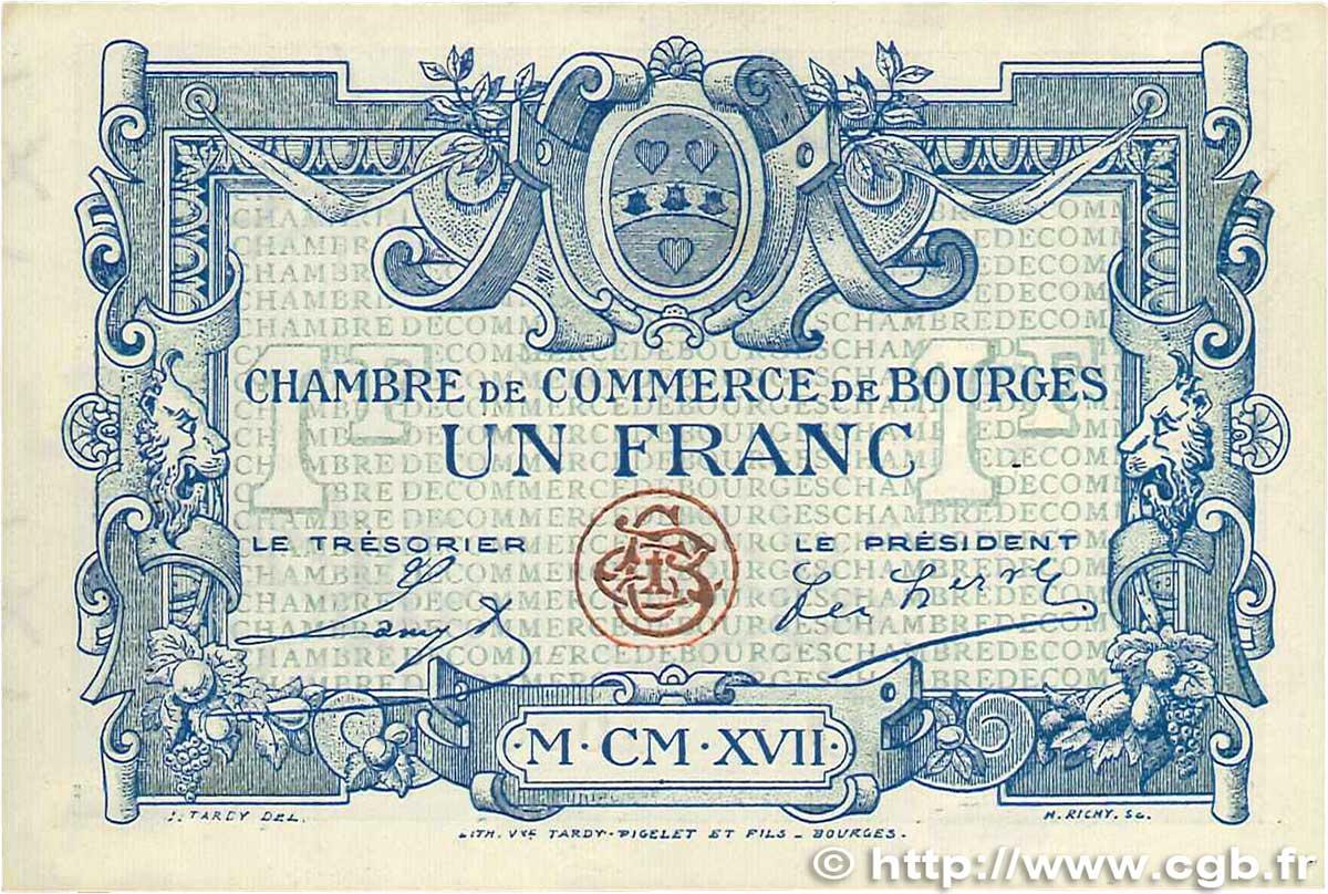 1 franc france r gionalisme et divers bourges 1917 b99 0383 billets. Black Bedroom Furniture Sets. Home Design Ideas