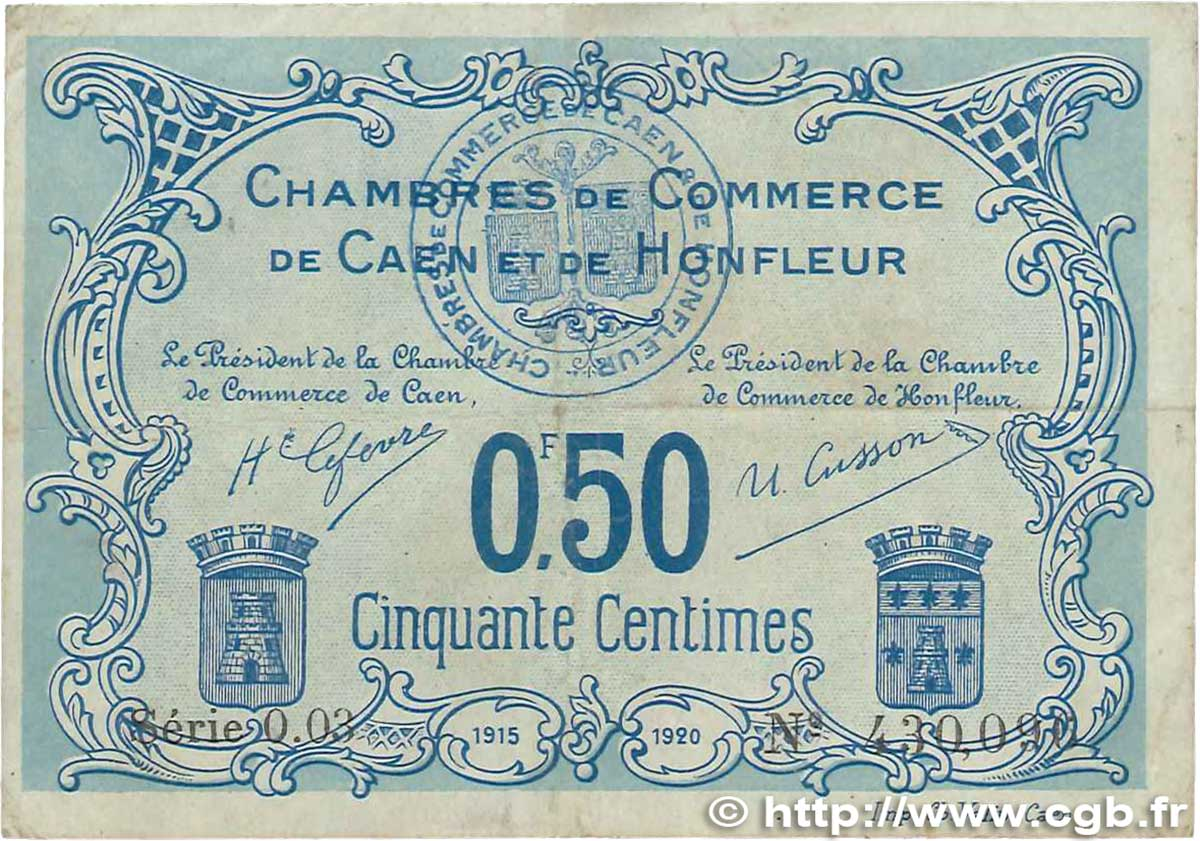 50 centimes france r gionalisme et divers caen et honfleur 1915 ttb b99 0394 billets. Black Bedroom Furniture Sets. Home Design Ideas