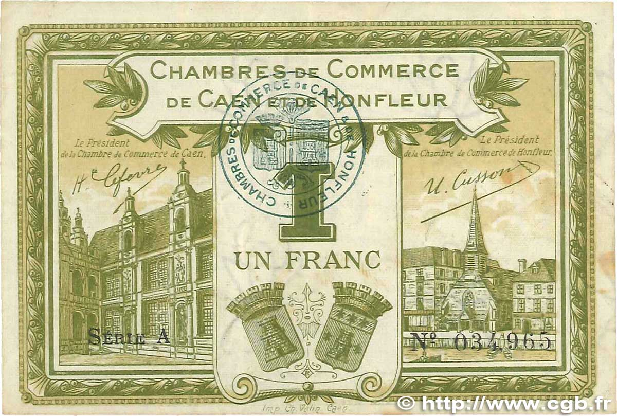 1 franc france regionalism and various caen et honfleur 1915 vf b99 0408 banknotes. Black Bedroom Furniture Sets. Home Design Ideas