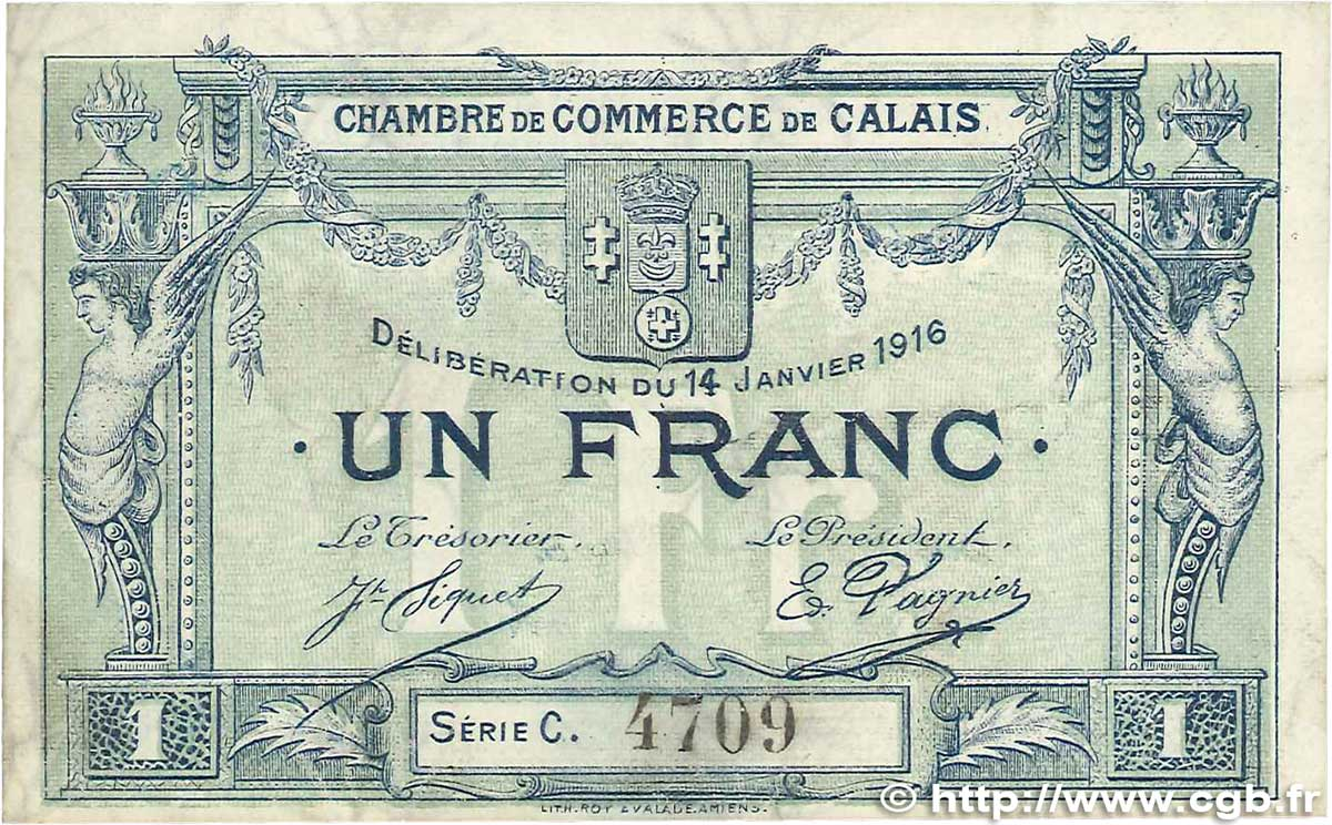 1 franc france r gionalisme et divers calais 1916 for Chambre de commerce calais