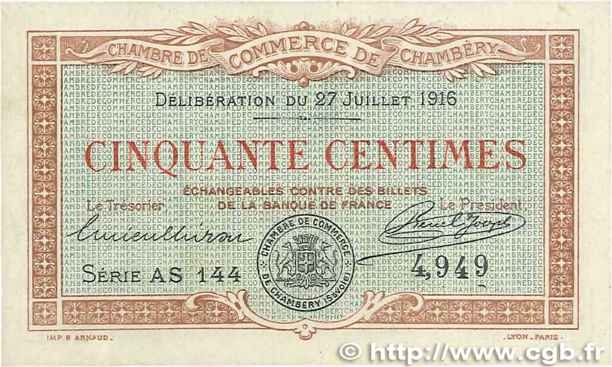 50 centimes france r gionalisme et divers chamb ry 1916 jp - Chambre de commerce chambery ...