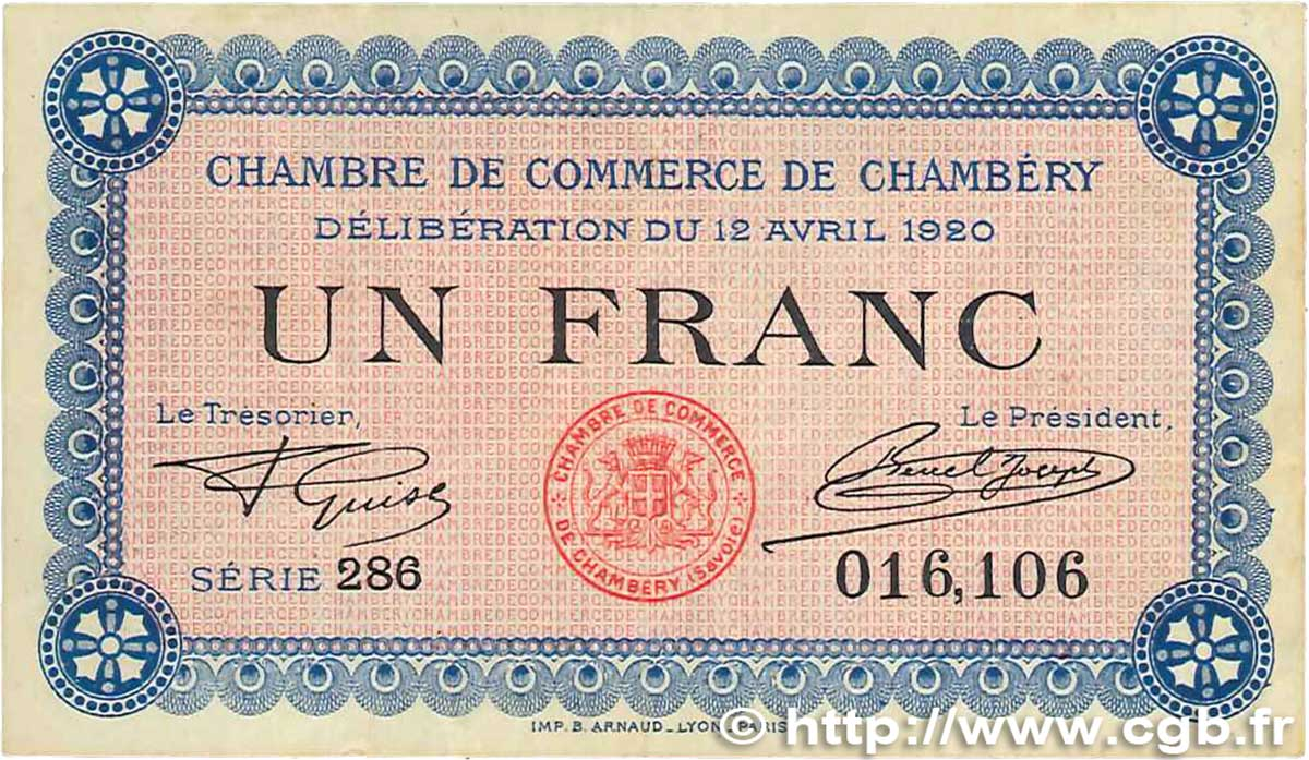 1 franc france r gionalisme et divers chamb ry 1920 - Chambre de commerce chambery ...