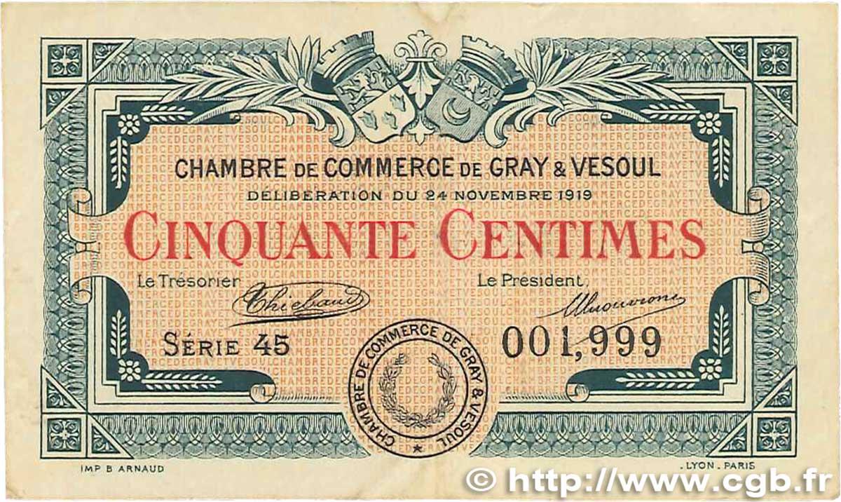 50 centimes france r gionalisme et divers gray et vesoul 1919 b99 0700 billets. Black Bedroom Furniture Sets. Home Design Ideas