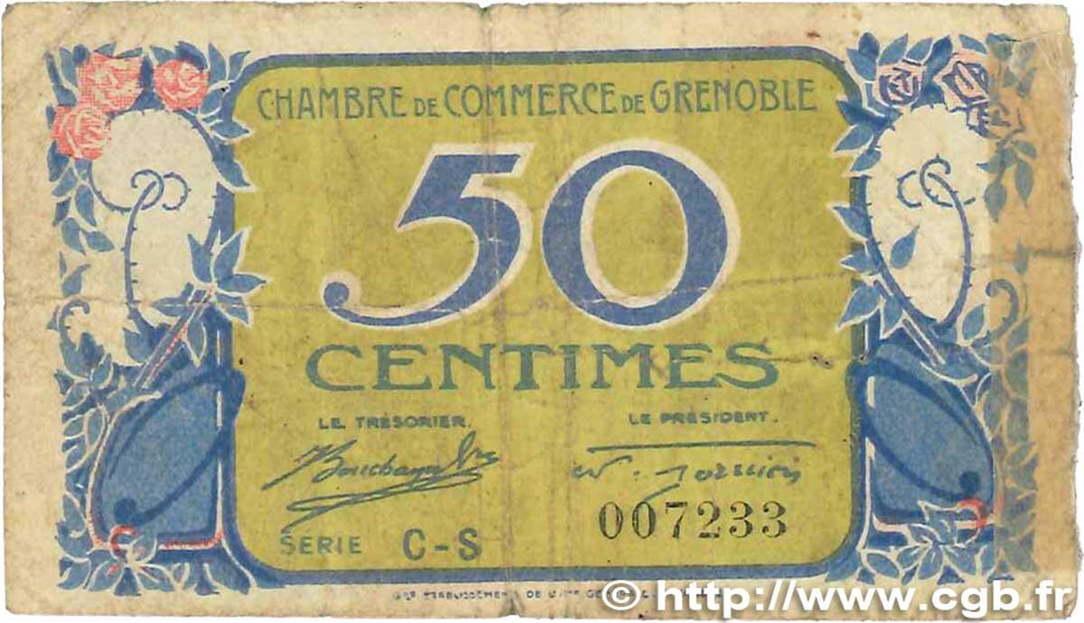 50 centimes france r gionalisme et divers grenoble 1917 b99 0708 billets. Black Bedroom Furniture Sets. Home Design Ideas