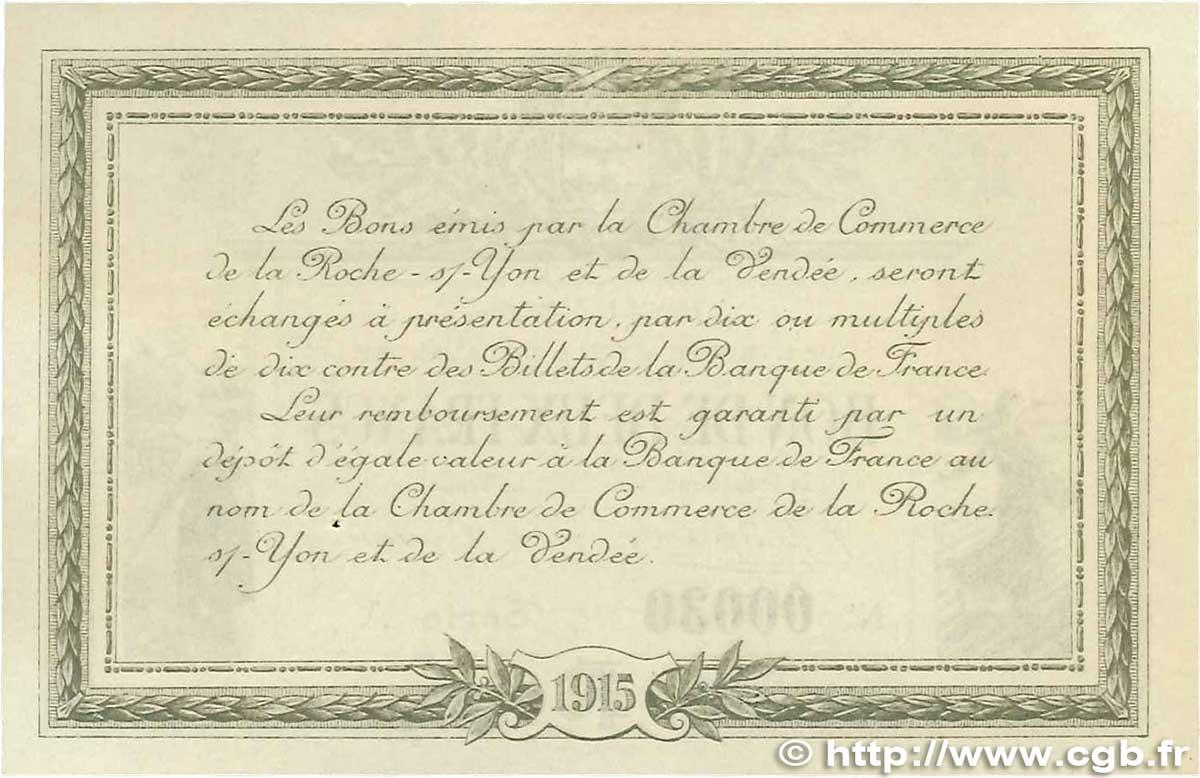 2 francs france r gionalisme et divers la roche sur yon 1915 spl b99 0731 billets. Black Bedroom Furniture Sets. Home Design Ideas