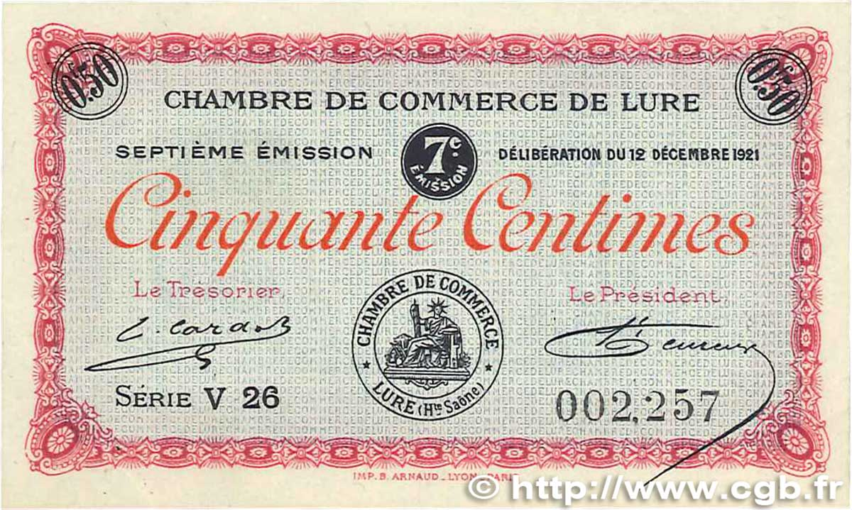 50 Centimes FRANCE régionalisme et divers LURE 1921 JP.076.41 SUP