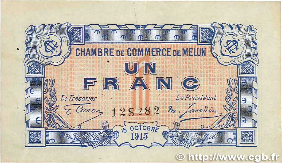 1 franc france r gionalisme et divers melun 1915 b99 1003 billets - Chambre de commerce melun ...